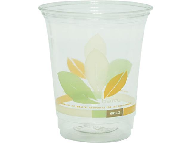 SOLO Cup Company RTP12J9036CT Bare RPET Cold Cups, Clear w/Leaf Design, 12 oz., 1000/Carton