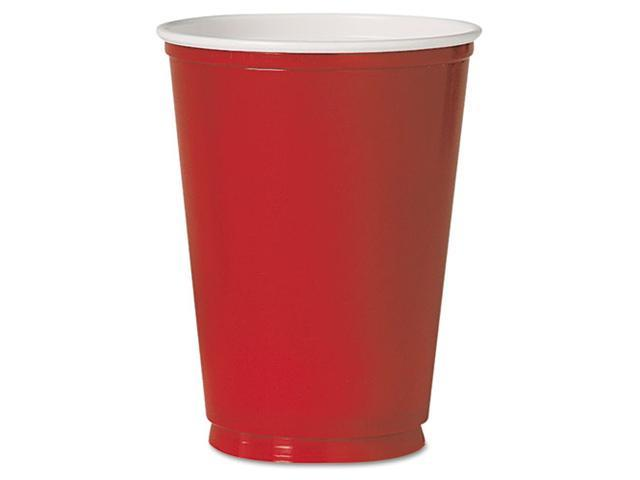 SOLO Cup Company PS10RPK Plastic Party Cold Cups, 10 oz., Red, 50/Pack