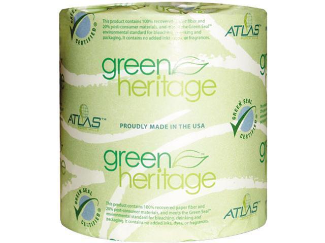 Atlas Paper Mills 250GREEN Green Heritage Bathroom Tissue, 2-Ply, 500 Sheets, White, 96 per Carton
