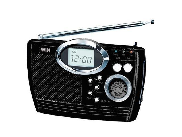 jwin multi band portable radio with alarm clock jx m17blk. Black Bedroom Furniture Sets. Home Design Ideas