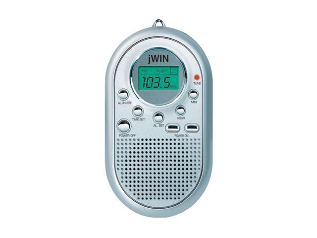 jwin mini am fm pocket radio alarm clock silver jx m10sil. Black Bedroom Furniture Sets. Home Design Ideas