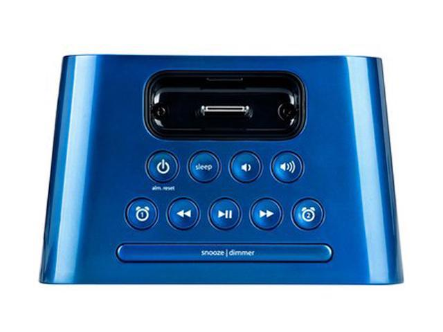 iHome IH22LTC Dual Alarm Clock Translucent Speaker System With iPod Dock,Blue