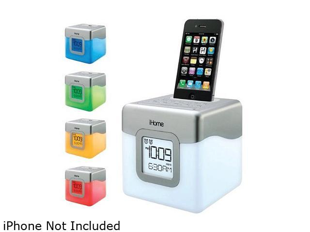 iHome IP18 LED Color Changing Dual Alarm Clock Speaker System for iPhone/iPod