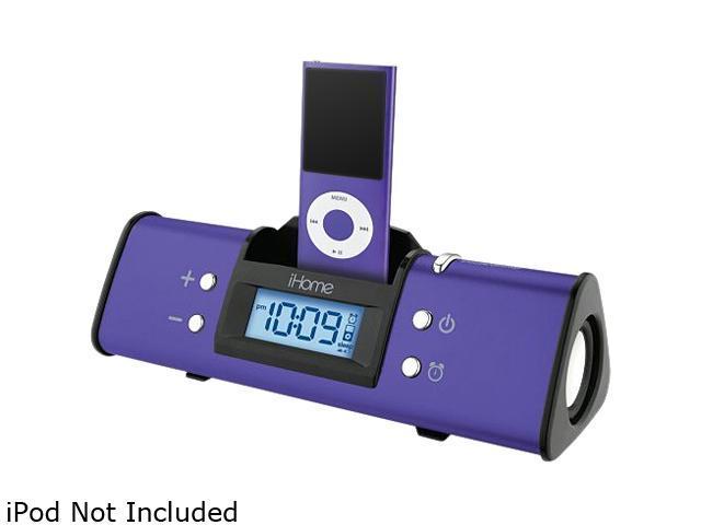 iHome IH16UVX Purple iPod Dock Alarm Clock Speaker