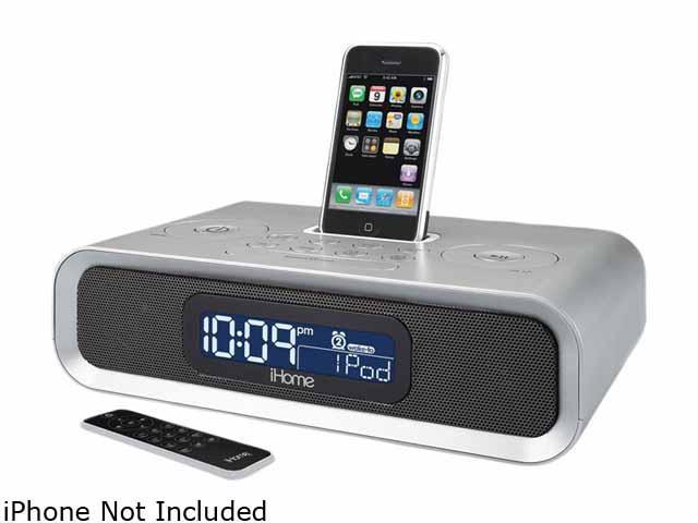 Dual Alarm Clock Radio for iPod and iPhone (Silver) IP97SR