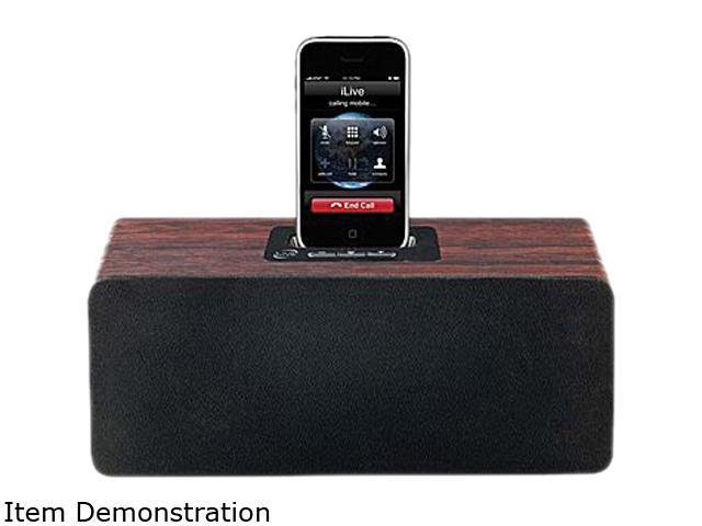iLive ISP500CW Cherry Wood 2.1-Channel Speaker System for iPhone/iPod