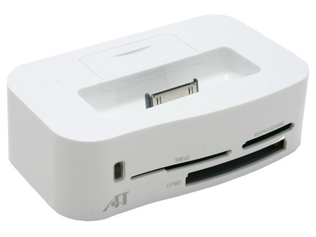 White iPod Dock with Card Reader for Computer