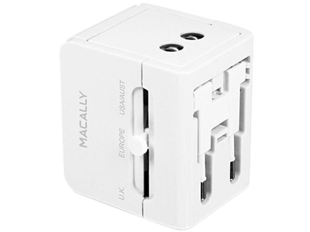 Macally LP-PTCII White Universal Power Plug Adapter with USB Charger -