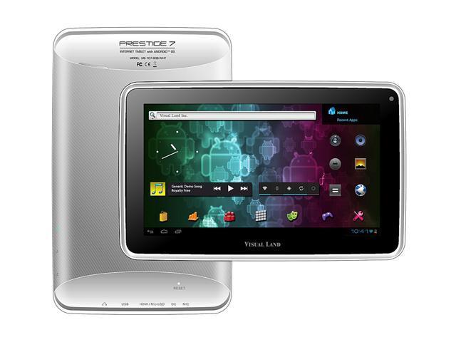 "Visual Land Prestige ME-107-8GB-WHT 8GB Flash 7.0"" Internet Tablet (White)"