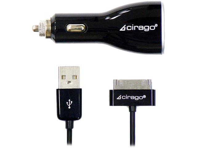 Cirago IPA3510 Dual USB Car Charger for iPad/iPhone/iPod with 5 Feet Sync Cable Black