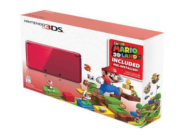Nintendo 3DS  Flame Red System Bundle w/Super Mario 3D Land