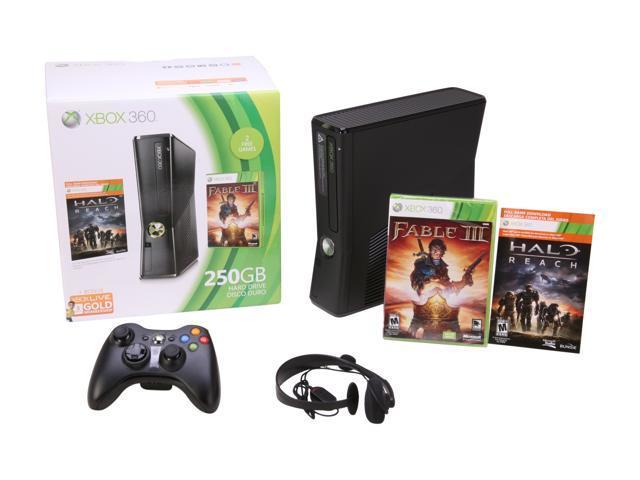 Microsoft XBOX 360 250GB Holiday bundle w/Halo Reach & Fable 3 250 GB Hard Drive Black