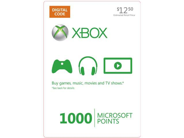 Microsoft Xbox 360 Live Points Retail 1000 Points ESD Prepaid Offer