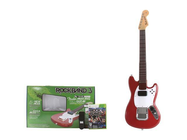 MADCATZ Rock Band 3 Fender Mustang Pro guitar Bundle w/Red Hot Chili Peppers Bonus Track