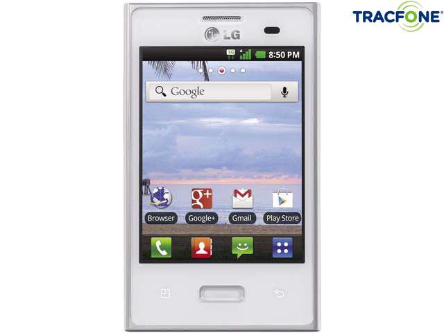 LG Optimus Dynamic 38C White 800MHz Tracfone Android Smart Phone with 600 Minutes (200 Minute Airtime Card) & Triple Minutes for Life