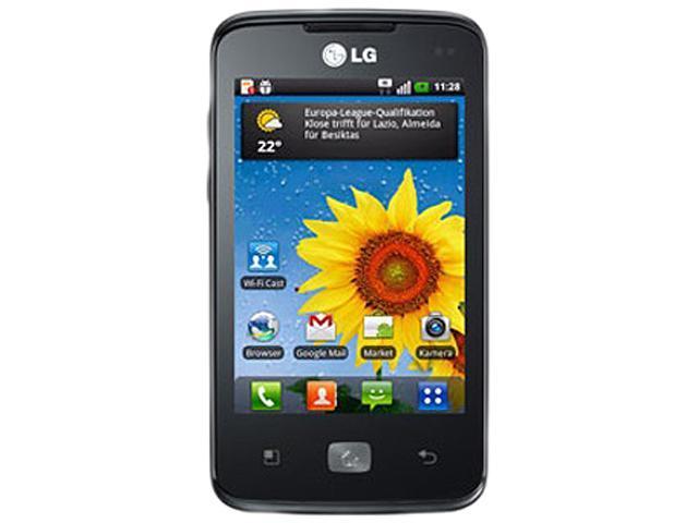 "LG Optimus Hub E510 150 MB, 512 MB RAM, 512 MB ROM Unlocked GSM Android Cell Phone 3.5"" Black"