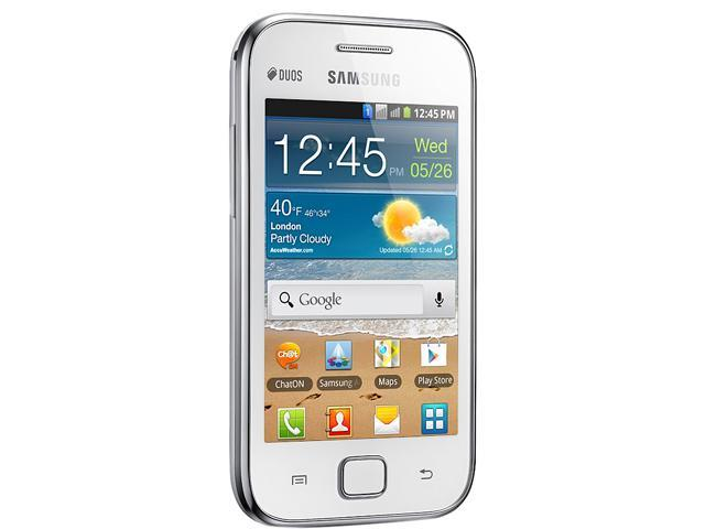 "Samsung Galaxy Ace Duos S6802 3 GB storage, 512 MB Unlocked Cell Phone 3.5"" White"