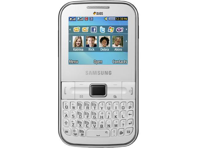 "Samsung Chat 322 C3222 54 MB Unlocked GSM QWERTY Cell Phone w/ 1.3MP Camera / Dual Sim Card 2.2"" White"