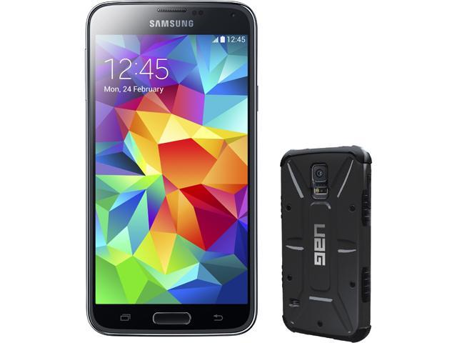 Samsung Galaxy S5 Charcoal Black Unlocked GSM Phone + UAG Black Case for Samsung Galaxy S5