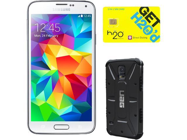 Samsung Galaxy S5 Shimmering White Unlocked GSM Phone + UAG Black Case + H2O SIM Card