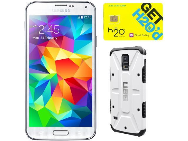 Samsung Galaxy S5 Shimmering White Unlocked GSM Phone + UAG White Case + H2O SIM Card