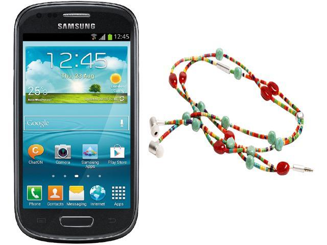 "Samsung Galaxy S3 Mini I8200 Unlocked Cell Phone + HandCandy - The SAMBA Bundle 4.0"" Black"