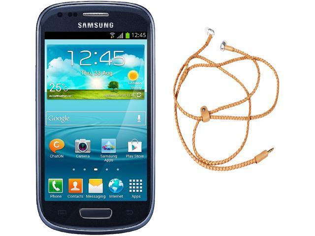 "Samsung Galaxy S3 Mini I8200 Unlocked Cell Phone + HandCandy - Tan Bundle 4.0"" Blue"