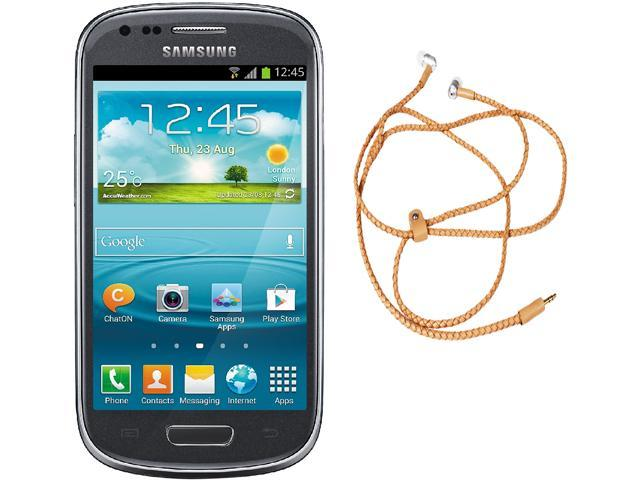 "Samsung Galaxy S3 Mini I8200 Unlocked Cell Phone + HandCandy - Tan Bundle 4.0"" Gray"