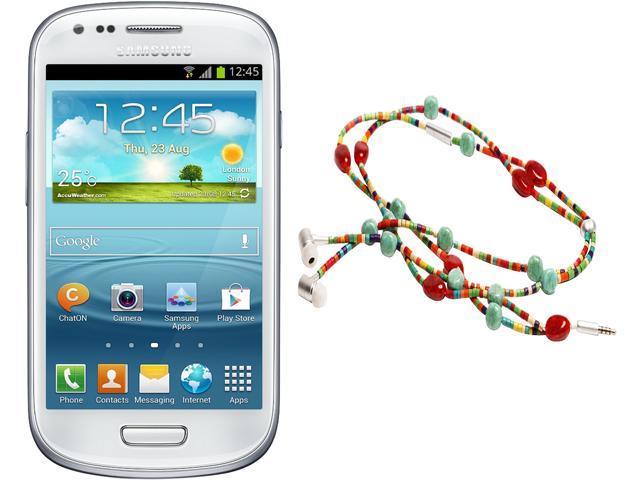 "Samsung Galaxy S3 Mini I8200 Unlocked Cell Phone + HandCandy - The SAMBA Bundle 4.0"" White"