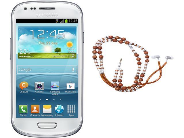 "Samsung Galaxy S3 Mini I8200 Unlocked Cell Phone + HandCandy - The SAMSARA Bundle 4.0"" White"