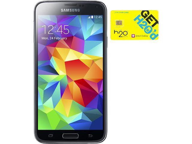 Samsung Galaxy S5 G900H Black 16GB Android Phone + H2O $40 SIM Card