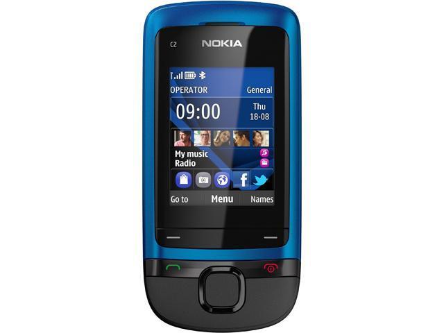 "Nokia C2-05 64 MB 2G Unlocked GSM Slider Phone w/ Bluetooth / VGA Camera / 2"" Display 2.0"" Peacock Blue"