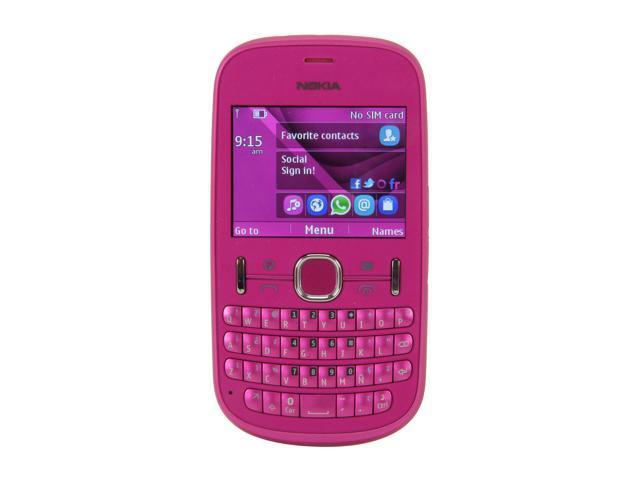 "Nokia Asha 201 10 MB, 64 MB ROM, 32 MB RAM Unlocked GSM QWERTY Phone with Bluetooth / 2 MP Camera / 2.4"" Display 2.4"" Pink"