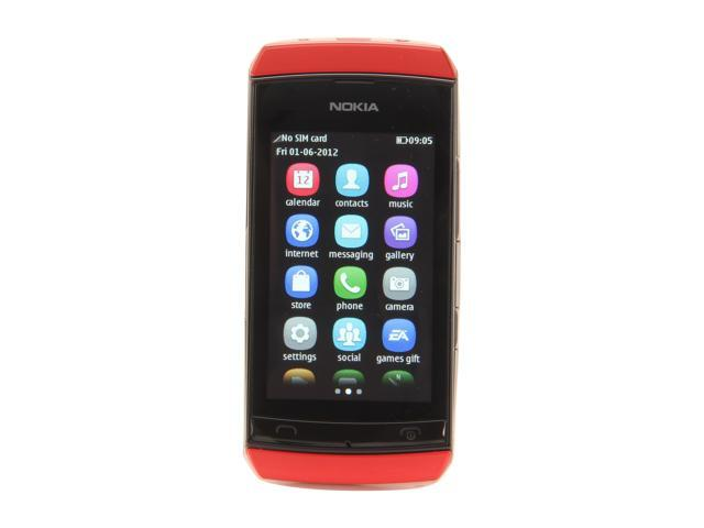 Nokia Asha 306 Red Unlocked GSM Touch Screen Smart Phone with Wi-Fi / Bluetooth / 2 MP Camera / 3.0