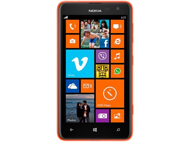 "Nokia Lumia 625.1 8 GB, 512 MB RAM Unlocked Cell Phone 4.7"" Orange"