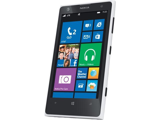 "Nokia Lumia 1020 32GB 32GB AT&T Unlocked GSM Windows Cell Phone 4.5"" White/Black"