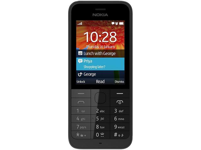 "Nokia 220 Under 1GB Unlocked Cell Phone 2.4"" Black"