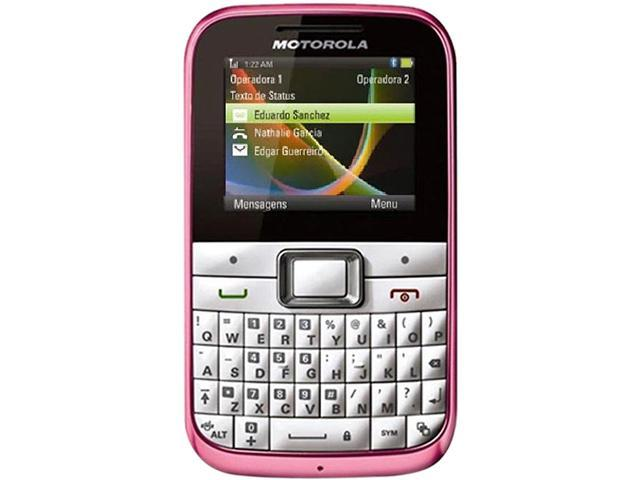 "Motorola MOTOKEY Mini EX108 50 MB Unlocked GSM Cell Phone 2.0"" White/Pink"