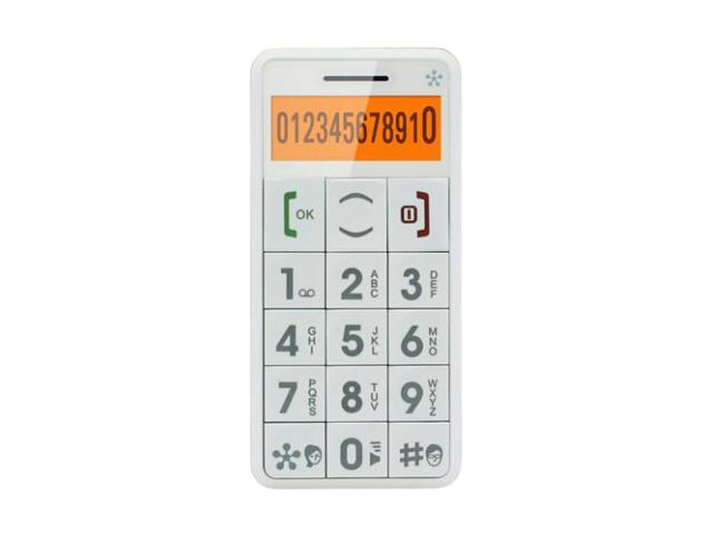Just 5 White Unlocked GSM Bar Phone w/ Large Buttoned Emergency Response System