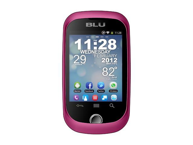 "Blu Dash 512 MB ROM, 256 MB RAM Unlocked GSM Android Smart Phone with Dual SIM / WiFi 2.8"" Pink"