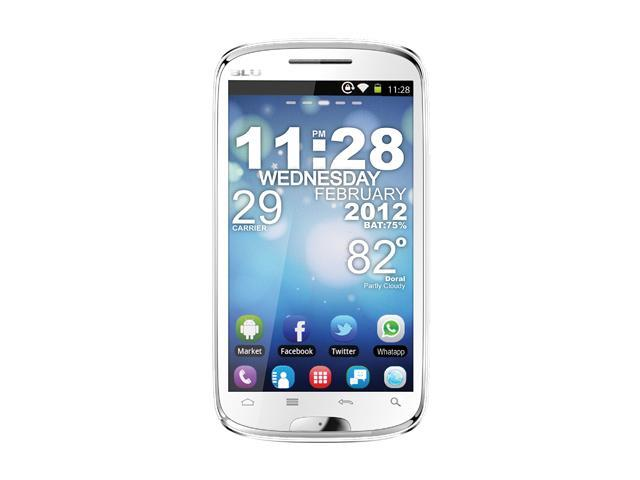 """Blu Studio 5.3 D510 512 MB ROM, 512 MB RAM Unlocked GSM Android Smart Phone with Dual SIM / Android 2.3 / WiFi 5.3"""" White"""