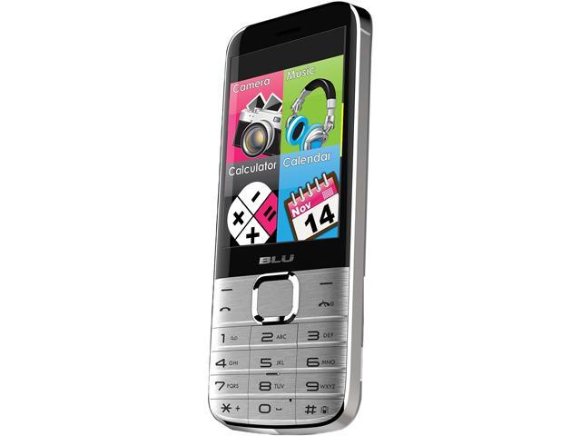 "Blu Diva X T372T 64 MB ROM, 64 MB RAM Dual SIM Unlocked Cell Phone w/ Flashlight 2.8"" Silver"
