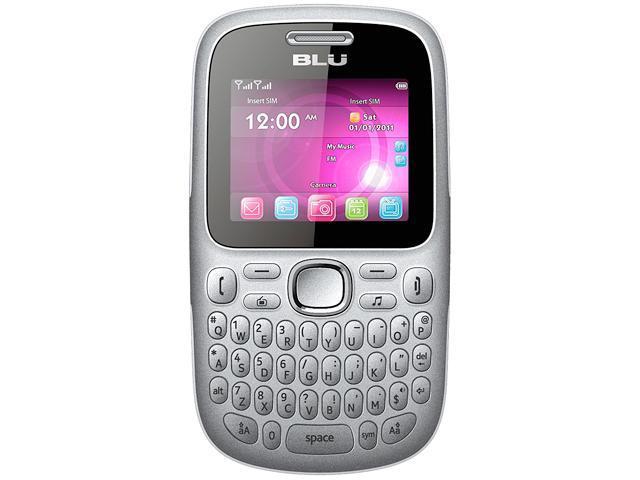 """Blu Samba W Q170W Under 1GB Unlocked Dual-SIM GSM Cell Phone 2.0"""" Silver"""