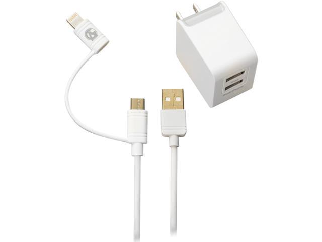 Arsenal Gaming agkit1w White Apple certified Lightning cable and Micro USB Hybrid cable + 3.1 Amp Dual USB Home Charger