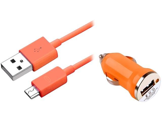 Insten 1496911 Orange USB Mini Car Charger Adapter with 3FT Charging Data Cable Compatible with Samsung Galaxy S IV i9500
