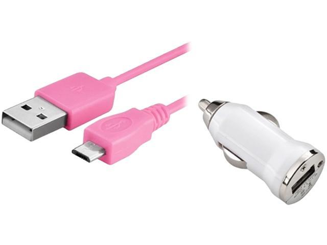 Insten 1542131 White USB Car Charger Adapter with 10FT Pink 2-in-1 Micro USB Charging Data Cable
