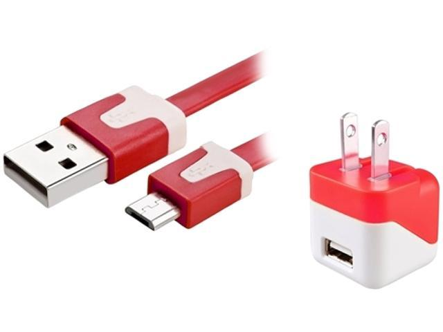 Insten 1599476 Red USB Mini Travel Charger and Micro USB Noodle Cable Compatible with Samsung Galaxy Note 3