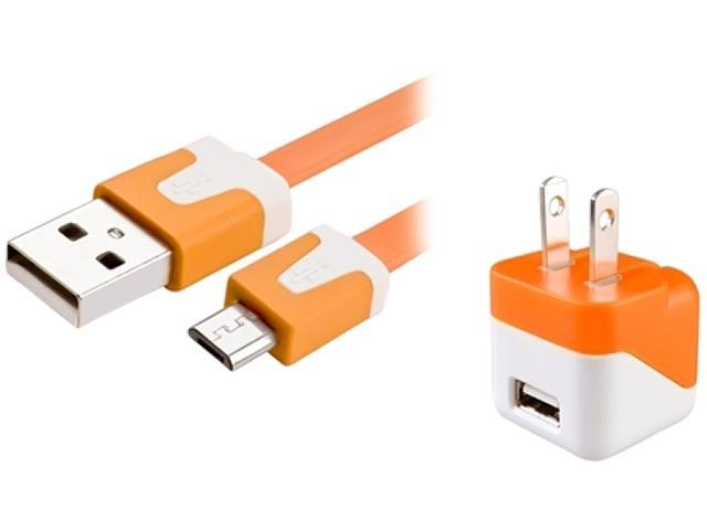Insten 1599479 Orange USB Mini Travel Charger and Micro USB Noodle Cable Compatible with Samsung Galaxy Note 3