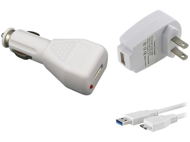 Insten 1681210 White USB Car / Travel Charger Adapter and 3FT USB 3.0 Cable Compatible with Samsung Galaxy Note 3