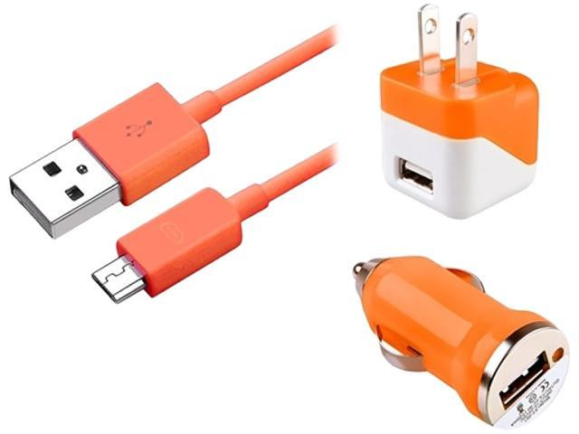 Insten 1830343 Orange USB Travel Charger & Car Charger Adapter + 3FT Micro USB Cable for Samsung Galaxy S5 SV